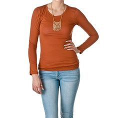Long Sleeve Crewneck Tee T Shirt Cotton (Small, Rust) Act...