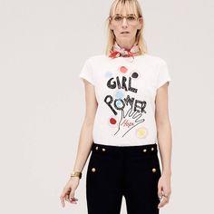 Women's Girl Power Crewneck Round Hem Tee
