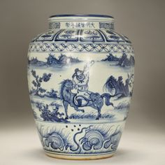 Chinese blue and white porcelain vase;
