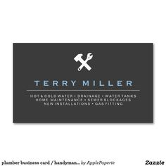 plumber business card / handyman business cards, simple, elegant, black, plumber, handyman, plumbing, home maintenance, wrench,