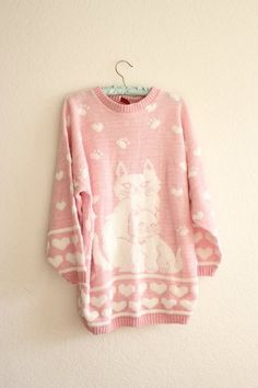 <3 Pink, cats, and hearts. Cute fall relaxed sweater
