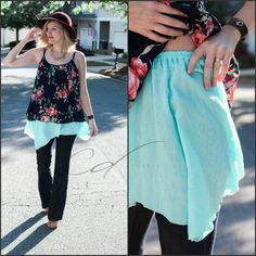 Turquoise asymmetrical shirt extender by Classic Dianne
