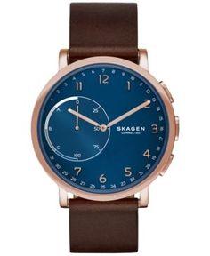 Skagen Connected Unisex Hagen Brown Leather Strap Hybrid Smart Watch 42mm SKT1103 - Brown