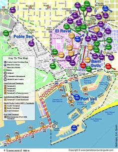 Barcelona map of hotels in proximity to cruise ship docks.