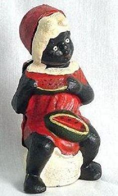 black americana vintage eating watermelon on pot cast iron bank aunt jemima