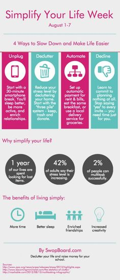 """""""Simplify Your Life Week"""" is August 1st-7th. Check out our new infographic to jumpstart your week of simplicity!"""