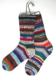 Crazy Socks  Handknit DK weight  Women Girls by BellaBlueKnits, $28.00