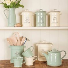 Pride Of place By T G Woodware. Mugs, Jugs, Teapots, Tea, Coffee, Sugar Canisters. Available in Old Green or Old Cream.