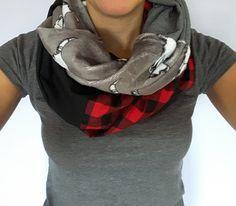Foulard infini  crâne de boeuf, crâne de vache, blanc et noir, minky,  foulard carrelé rouge et noir, Foulard d'automne et d'hiver
