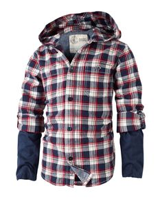 Large image of Multi Check Hooded Shirt - opens in a new window