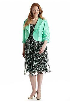 Dana Kay Plus Size Three Quarter Sleeve Jacket Dress