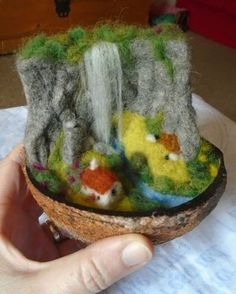 'Living under the waterfall' landscape in a nutshell - needle felted - S. Needle Felted Animals, Felt Animals, Nuno Felting, Needle Felting, Felt Crafts, Diy And Crafts, Felt Mushroom, Felt House, Felt Snowman