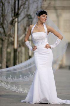 Bridal Mantilla Veil Diamond (Off) White 1 Tier Long Cathedral Length Lace Edge  #VelvetBridal