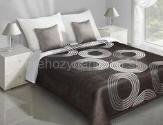 Prehozy na posteľ obojstranné | Tmavo hnedý prehoz na posteľ s bielymi kruhmi | Prehozy na posteľ