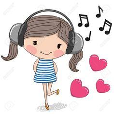 44206113-Chica-linda-de-la-historieta-con-los-auriculares-y-los-corazones-Foto-de-archivo.jpg (1300×1300)