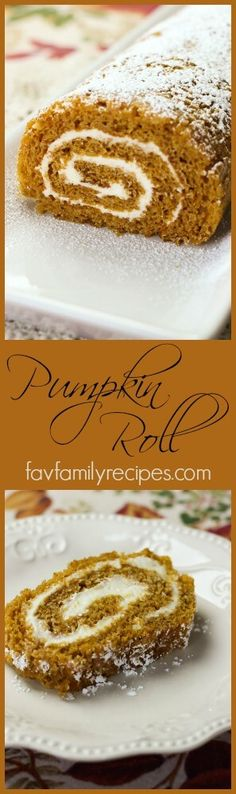 This delicious Pumpkin Roll is a thin, spongey, pumpkin cake roll with a rich cream cheese frosting filling.  One recipe makes two Pumpkin Rolls.  Each roll serves 12. via @favfamilyrecipz