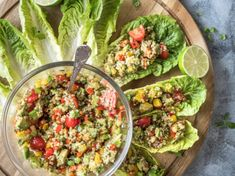 Quinoa Avocado Lettuce Wraps [Vegan, Gluten-Free] - One Green Planet. Easy, quick and light vegan/gluten-free lunch or dinner recipe! Sin Gluten, Vegan Gluten Free, Gluten Free Recipes, Gluten Free Lunches, Vegan Dinners, Healthy Dinner Recipes, Healthy Snacks, Vegetarian Recipes, Quinoa Recipes Easy