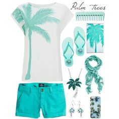 Palm trees by kris206 on Polyvore featuring polyvore, fashion, style, American Eagle Outfitters, Victoria's Secret PINK, DiamonLuxe Crystal, Bling Jewelry and Forever 21