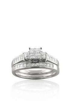 Belk  Co. White Gold 1 ct. t.w. Diamond Bridal Set Ring in 14k White Gold