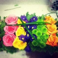 Multi colour flowers.