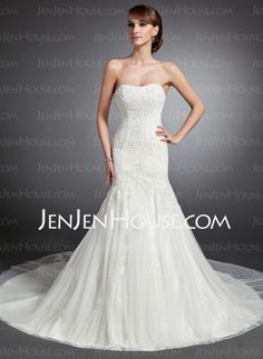 I think this is the one!  Wedding Dresses - $198.99 - Mermaid Sweetheart Cathedral Train Tulle Wedding Dress With Ruffle Lace Beadwork (002015136) http://jenjenhouse.com/Mermaid-Sweetheart-Cathedral-Train-Tulle-Wedding-Dress-With-Ruffle-Lace-Beadwork-002015136-g15136