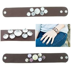 The Branded Leather Line - Wide Leather Bracelet With One 18mm Rivoli Round & Six 12mm Rivoli Round Riveted Empty Settings Made In The USA - Las Vegas Rhinestones