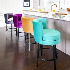 Breakfast is served 😌 Grab a stylish stool 👌🏼 Counter Stools, Bar Stools, Kitchen Interior, Kitchen Design, Kitchen Ideas, Island Chairs, Traditional Furniture, Wisteria, Color Inspiration