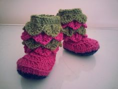 Handmade Crocodile Stitch Crochet Baby Booties by hookata on Etsy