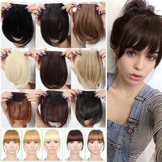 Details about US Stock Side Bangs Clip on Neat Bang Fringes Clip in Hair Extensions as Human E Bobbed Hairstyles With Fringe, Fringe Haircut, Fringe Bangs, Bob Hairstyles, Pretty Hairstyles, Wengie Hair, Cabelo Ombre Hair, Clip In Fringe, How To Cut Bangs