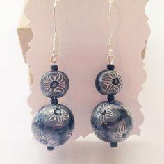 Black and White Dangle Earrings - Cascading Gems