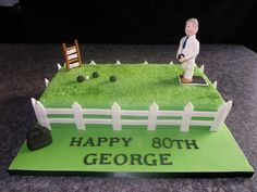 Lawn Bowls We made this for a gentleman who loves playing bowls. Bowling Birthday Cakes, 70th Birthday Cake, Dad Birthday, Christmas Planters, Outdoor Christmas Decorations, Outdoor Bowling, Green Cake, Bowl Cake, Dinosaur Cake