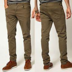 Flaco de color marrón de chino pantalones para los hombres en suave 5- bolsillos chino de slim-Pantalones-Identificación del producto:632908...