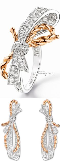 Chaumet Diamond and Gold Ring and Earrings(=)