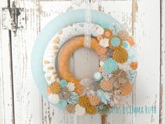 Original ONE OF A KIND Triple Wreath. Modern Wrapped Wreath with felt and fabric flowers. Made by Wreaths By Emma Ruth