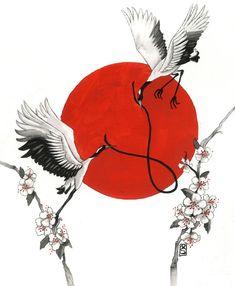 Hope for Japan Art And Illustration, Japanese Illustration, Japanese Tattoo Samurai, Japanese Tattoo Art, Japanese Sleeve, Japanese Artwork, Japanese Prints, Tatoo Bird, Samurai Artwork