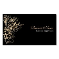 elegant retro gold flower swirls business card - Best Place To Order Business Cards