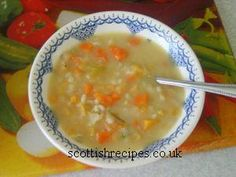Scotch Broth Soup,yummy on a cold winters day hmm! or anytime of year a delicious soup.Traditionally Scotch Broth is a bit of everything thrown into the pot and is quite filling. In olden days Scots would eat this as a main meal. In modern times many Scot Scottish Dishes, Scottish Recipes, Irish Recipes, English Recipes, Scotch Broth Recipes, Scotch Broth Soup, Soup Broth, Uk Recipes, Healthy Soup Recipes