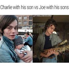 Charlie with his son vs Joe with his sons  Stranger Things Stranger Things Have Happened, Stranger Things Netflix, Stranger Things Stuff, Stranger Things Season 3, Strangers Things, Joe Kerry, Jonathan Byers, Mouth Breather, Steve Harrington