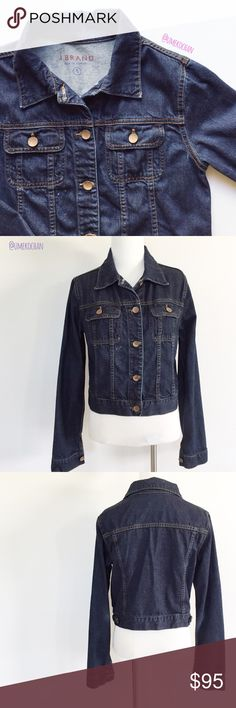 J Brand Denim Jacket The best ever classic denim jacket by J Brand. Dark wash. On trend. Faded elbows. EUC-small distressed spot (pictured). Please feel free to ask any questions :) Sorry, no trades. J Brand Jackets & Coats