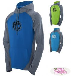 Monogrammed Zeal Hoody with thumbholes in 10 Colors at The Pink Monogram  www.thepinkmonogram.com