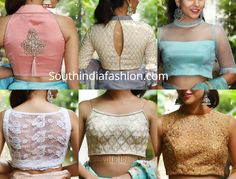 Featuring some stylish party wear saree blouse designs by House Of Blouse. Patch Work Blouse Designs, Simple Blouse Designs, Stylish Blouse Design, Saree Blouse Patterns, Saree Blouse Designs, Readymade Blouses Online, Stylish Sarees, Party Wear Sarees, South India