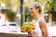 Fun, creative, and soft. We wired succulents into this bridal bouquet.