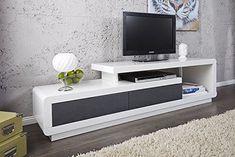 Meuble tv meuble de salon MARVIN blanc/gris laqué. Meuble design et ultra tendance: Amazon.fr: Cuisine & Maison