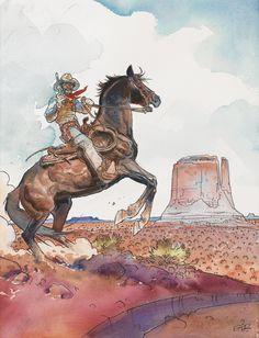Lieutenant Blueberry by Jean Giraud/Moebius Jean Giraud, Fantasy Warrior, Fantasy Art, Moebius Art, Serpieri, Heavy Metal Art, Western Comics, Westerns, Comic Artist
