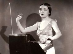 """""""Born in 1911, Clara Rockmore is widely regarded as the greatest Theremin player to have ever lived.  A child prodigy, Clara began her musical career as a violinist studying with Leopold Auer, but gave up the instrument in her teens due to an arthritic condition in her bow arm.  By this point she had immigrated to the US and befriended Leon Theremin, who had recently developed an instrument that bore his name, the Theremin"""".   http://www.moogmusic.com/news/remembering-clara-rockmore#"""