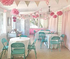 Princess Tea Party -10 Tissue Paper Poms/Decorated Paper Lanterns //Baby Shower, Birthday, Wedding, Bridal Shower, Nursery Decor on Etsy, $41.99