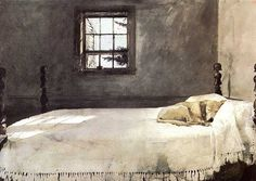 Who is that sleeping on the bed?: Andrew Wyeth - Master Bedroom (1965) ...Love this picture. . I always appreciate seeing a pet who is well loved.  . . .