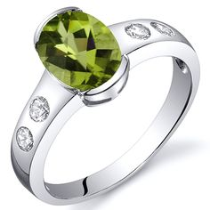 Peridot Ring Sterling Silver Rhodium Nickel Finish Oval Shape 1.25 Carats Half Bezel Sizes 5 to 9 * Check out this great product.