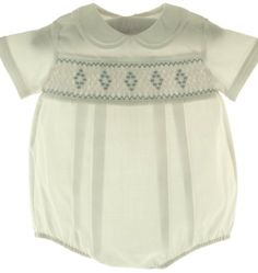 08fcff0d3fc Feltman Brothers Newborn Boys White Smocked Bubble Take Home Outfit