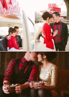 winter, red, holiday cards, engagements, plaid shirts, engagement shoots, newlyweds, gold christmas, christmas photos